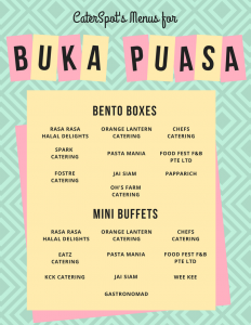 CaterSpot's Menu for Buka Puasa - Halal Bento Boxes and Mini Buffets